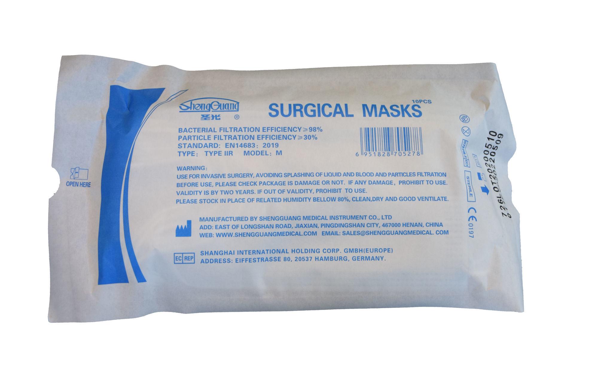 Bild von 10x Sterile Einweg-OP-Mund-Nasen-Schutzmasken -  EN 13485 Typ IIR (10er Pck.)