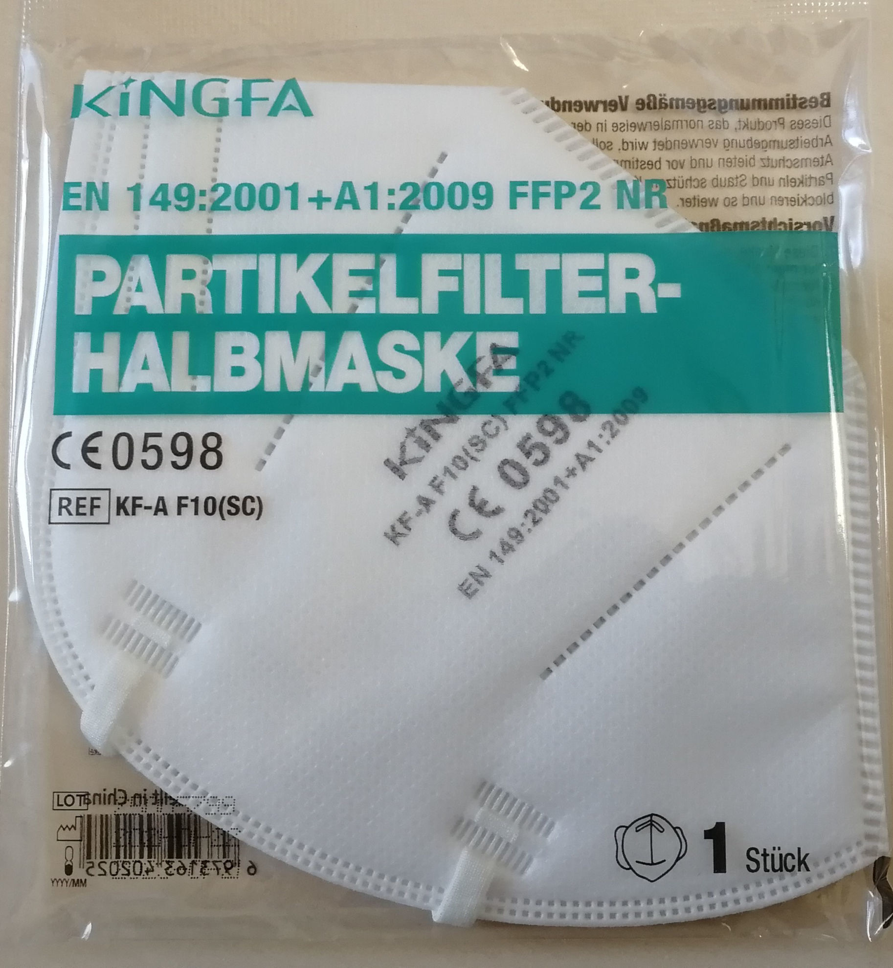 Bild von FFP2 Atemschutzmaske mit CE 0598